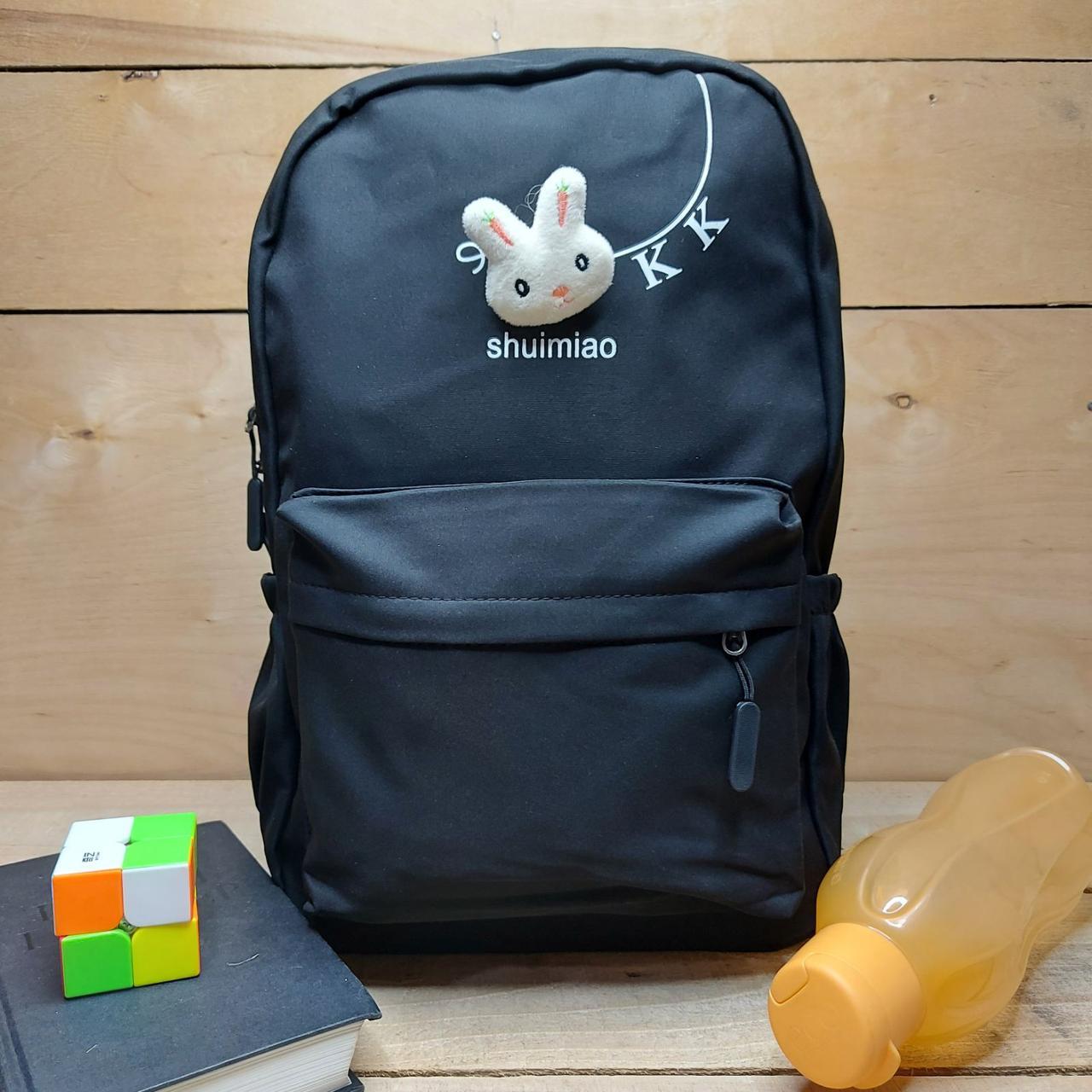 Рюкзак школьный спортивный городской с накладным карманом игрушка Зайчик 45*30 см Nata2