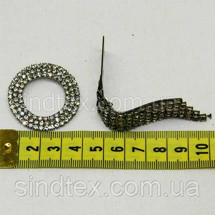 Шубний гачок-застібка (кліпса) зі стразами, сірий 6 см (653-Т-0520), фото 2