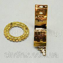Шубний гачок-застібка (кліпса) зі стразами, золотий 6 см (653-Т-0024), фото 2