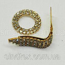 Шубний гачок-застібка (кліпса) зі стразами, золотий 6 см (653-Т-0024), фото 3