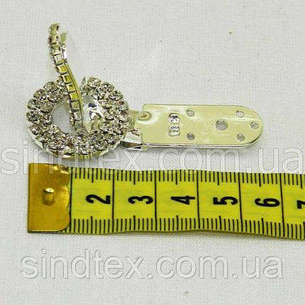 Шубний гачок-застібка (кліпса) зі стразами, срібло 5 см (653-Т-0028), фото 2