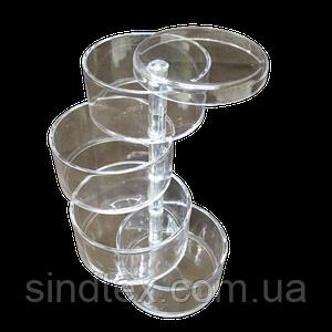 16х9,5х4,8см на 4 ячейки пластиковая тара (контейнер, органайзер) для рукоделия и шитья (657-Л-0235)