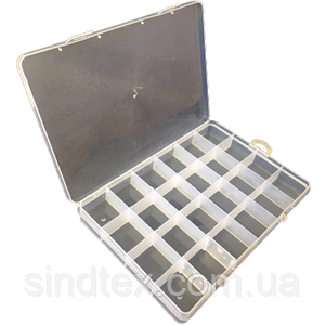 19х12,5х2см на 24 ячейки пластиковая тара (контейнер, органайзер) для рукоделия и шитья (657-Л-0239)