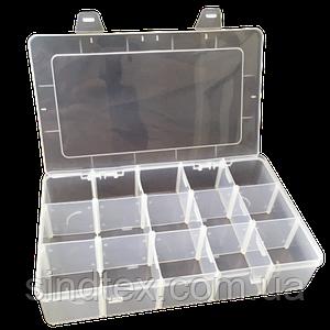 26,5х16х5,5см на 15 ячеек пластиковая тара (контейнер, органайзер) для рукоделия и шитья (657-Л-0243)