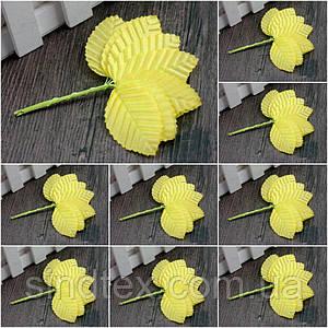 (200шт) ОПТ Листочки на дроті (ціна за 200 шт) Колір - Жовтий (сп7нг-1728)