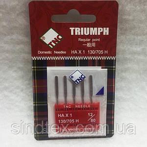 Голки для побутових швейних машин TRIUMPH New 130/705H Універсальні №80 (уп.5шт) (ВЕЛЛ-025)