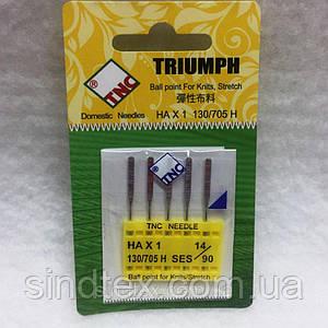 Иглы для бытовых швейных машин TRIUMPH New 130/705H Стрейч №90 (уп.5шт) (ВЕЛЛ-028)