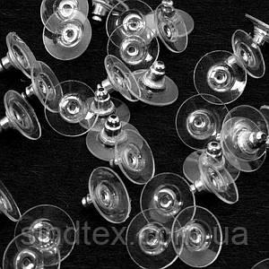(5 грамм  26 штук) Заглушки для сережек железные с пластиковой вставкой 10x6 мм, цвет - СЕРЕБРО (сп7нг-0266)