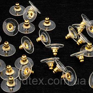 (5 грамм  26 штук) Заглушки для сережек железные с пластиковой вставкой 10x6 мм, цвет - ЗОЛОТО (сп7нг-0267)