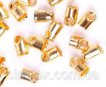 (5 грамм  40 штук) Концевик-колпачок с петлёй для шнура, 6 х 3 мм, Цвет - ЗОЛОТО (сп7нг-0395)