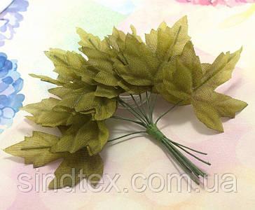 (12шт) Декоративні кленові листки на дроті, 11см (сп7нг-5690)