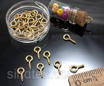 (10 грамм  100штук) ШТИФТ винтовой бижутерный L-9мм, Цвет - Золото (сп7нг-0441)