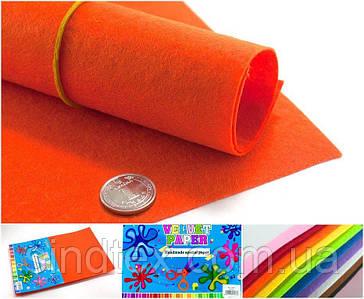 10 листов, Фетр жесткий 1мм  Заводская фасовка, 30х20см CHIISEN, Оранжевый фетр (сп7нг-4900)