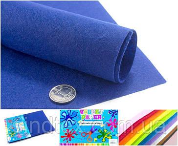 10 листов, Фетр жесткий 1мм  Заводская фасовка, 30х20см CHIISEN, Синий фетр (сп7нг-4903)