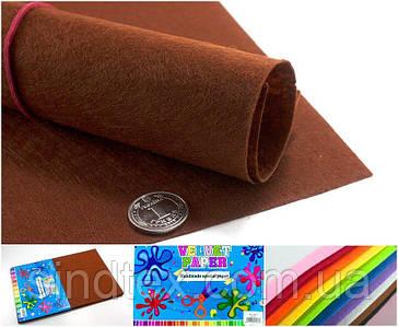 10 листов, Фетр жесткий 1мм  Заводская фасовка, 30х20см CHIISEN, Фетр коричневый (сп7нг-4907)
