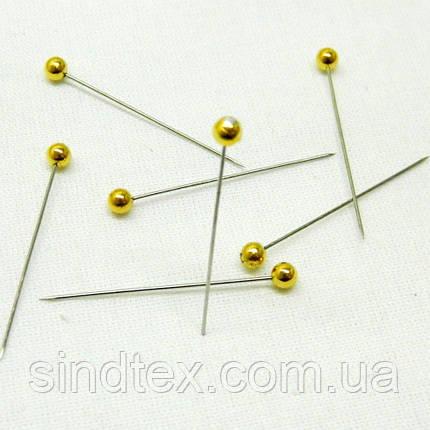 Булавки портновские декоративные 35 мм. с золотым шариком (653-Т-0425), фото 2