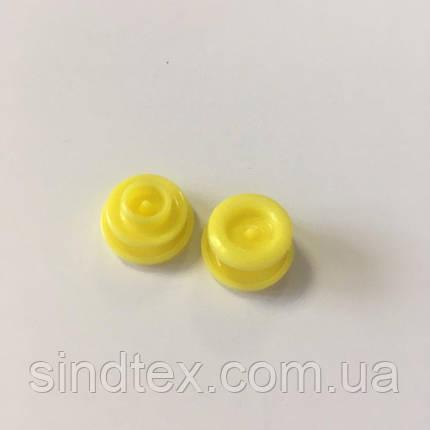 Кнопки пластикові кольорові для дитячого одягу і постільної білизни Т5 Ø 11,7 мм Желые (10 компл.) (SIND-07), фото 2