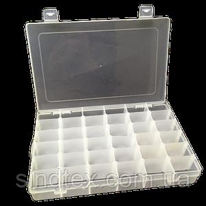 27х17,5х4,2см на 36 ячеек пластиковая тара (контейнер, органайзер) для рукоделия и шитья (657-Л-0244)