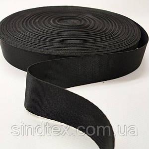 Чорна гладка тасьма сумочная-ремінна, 3,2 см (СИНДТЕКС-0265)