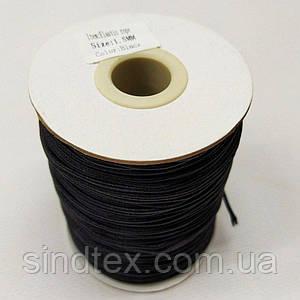 1,5 мм кругла Резинка (капелюшна) чорна 100 ярд. (СИНДТЕКС-0277)