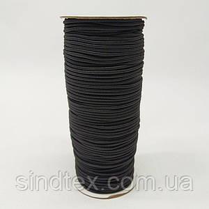2 мм кругла Резинка (капелюшна) чорна 100 ярд. (СИНДТЕКС-0279)