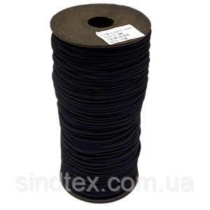 2,5 мм кругла Резинка (капелюшна) чорна 100 ярд. (СИНДТЕКС-0281)
