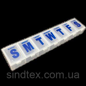 23х4x2см пластиковая тара (органайзер для витаминов) неделька (657-Л-0224)