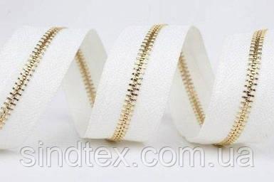 100 шт. - Молния Китай не разъемная металлическая ТИП-3 под заказ, длина от 4 до 120 см, белая/золото