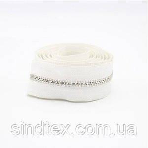 100 шт. - Молния Китай не разъемная металлическая ТИП-3 под заказ, длина от 4 до 120 см, белая/никель