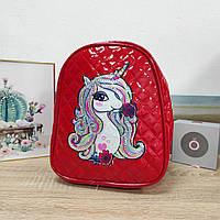 Дитячий лаковий рюкзак для дівчинки Єдиноріг