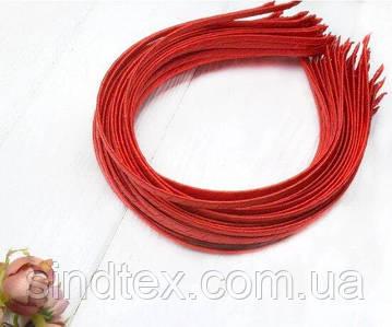 Обруч для волос обмотанный атласной лентой  (5мм металлический). Цена за 50 шт. Цвет - красный (сп7нг-6562)