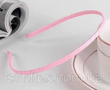 Обруч для волос обмотанный атласной лентой (ширина 5мм). Цвет - розовый (сп7нг-6485)