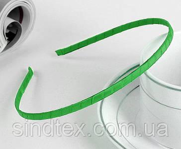 Обруч для волос обмотанный атласной лентой (ширина 5мм). Цвет - зеленый (сп7нг-6486)
