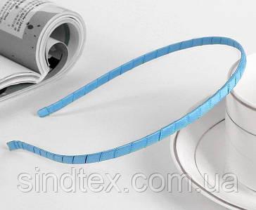Обруч для волос обмотанный атласной лентой (ширина 5мм). Цвет - голубой (сп7нг-6487)