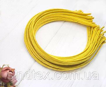 Обруч для волос обмотанный атласной лентой  (5мм металлический). Цена за 50 шт. Цвет - желтый (сп7нг-6566)