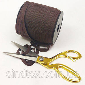 Темно-коричневая хб киперная лента 1 см на отрез кратно 1 м. (6-БК-718)