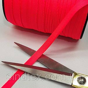 Синтетическая киперная лента 1 см ярко-розовая на отрез кратно 1 м. (6-БК-804)