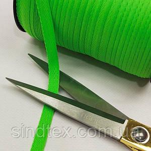 Синтетическая киперная лента 1 см ярко-зеленая на отрез кратно 1 м. (6-БК-802)