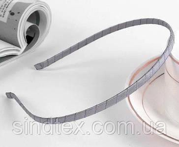 Обруч для волос обмотанный атласной лентой (ширина 5мм). Цвет - серый (сп7нг-6490)