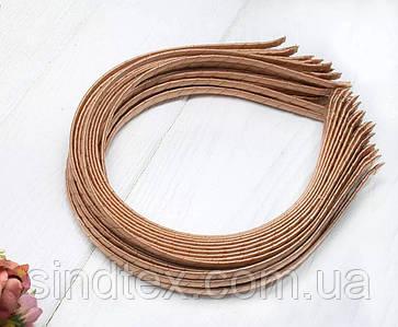 Обруч для волос обмотанный атласной лентой  (5мм металлический). Цена за 50 шт. Цвет - бежевый (сп7нг-6569)