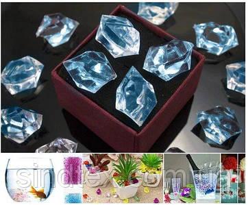(300грамм  150шт) Кристаллы для декора, акрил 24х17мм (искусственный лед) Цвет – Голубой (сп7нг-6574)