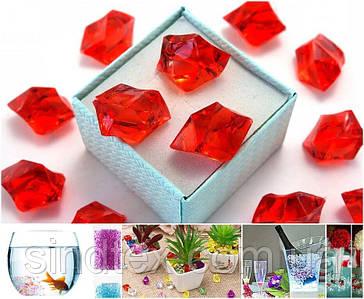 (300грамм  150шт) Кристаллы для декора, акрил 24х17мм (искусственный лед) Цвет – Красный (сп7нг-6577)