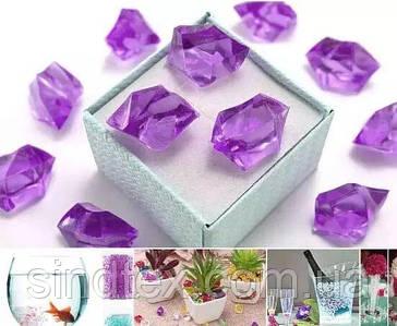(300грамм  150шт) Кристаллы для декора, акрил 24х17мм (искусственный лед) Цвет – сиреневый (сп7нг-6507)