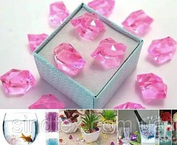(300грамм  150шт) Кристаллы для декора, акрил 24х17мм (искусственный лед) Цвет – Розовый (сп7нг-6580)