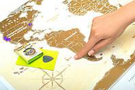 Скретч-карта світу Travel map золото, укр.