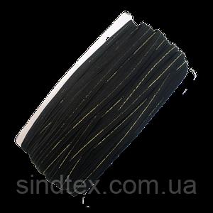 НА МЕТРАЖ Резинка черная с люрексом для бретель, ширина 1см (УМН-660-0005)