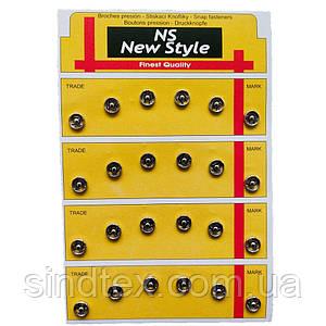 D=7,5мм пришивні застібки-кнопки для одягу Sindtex 24шт металеві колір сірий (653-Т-0035)