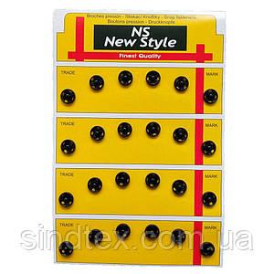 D=8,5мм пришивні застібки-кнопки для одягу Sindtex 24шт металеві колір чорний (653-Т-0040)