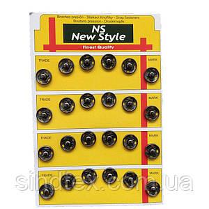 D=12мм пришивні застібки-кнопки для одягу Sindtex 24шт металеві колір темно-сірий (653-Т-0115)