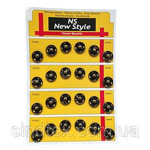 D=15мм пришивні застібки-кнопки для одягу Sindtex 24шт металеві колір антік (653-Т-0060)